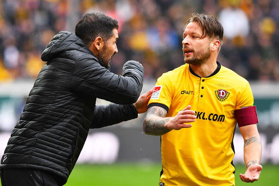 Dynamo-Coach Cristian Fiel (l.) muss im Sachsenderby gegen Aue auf seinen Regisseur Patrick Ebert verzichten.