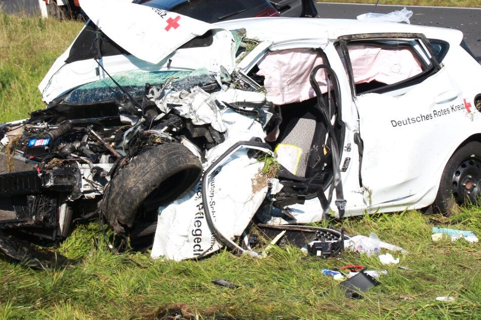 An dem schweren Unfall im südlichen Vogelsberg war ein Auto des Deutschen Roten Kreuzes beteiligt.