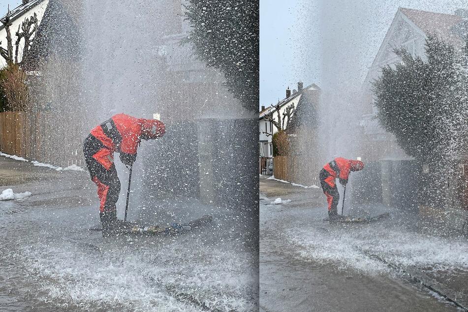 München: Meterhohe Wasserfontäne: Feuerwehr in München mit Spezialausrüstung gefordert