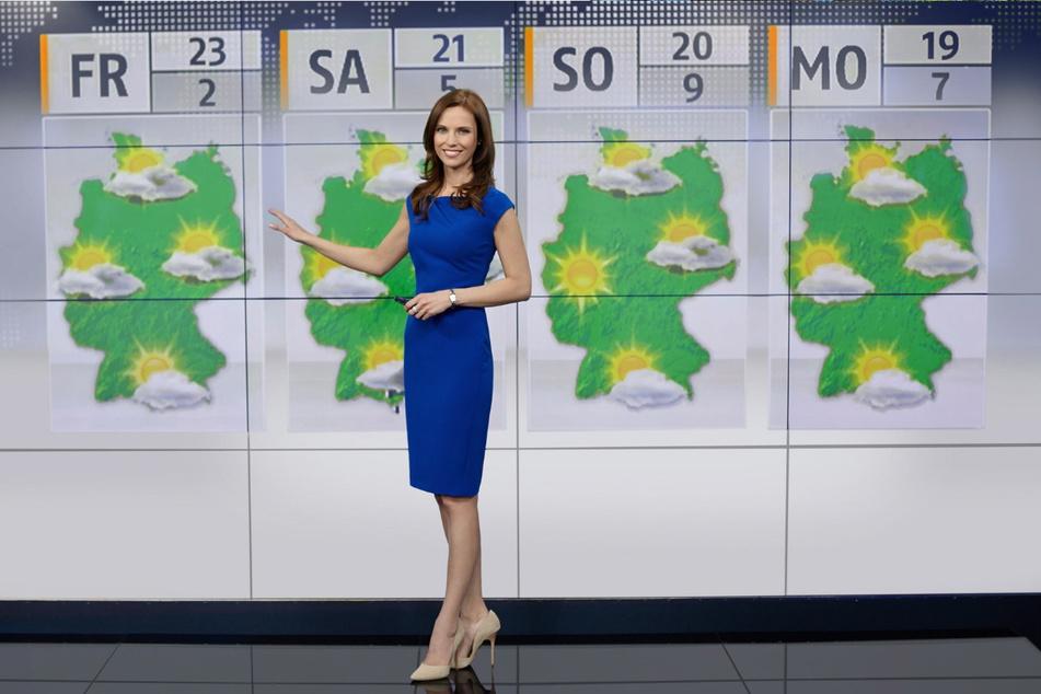 So kennen sie Millionen TV-Zuschauer: Susanne Schöne (37) als Sat1-Wetterfee.