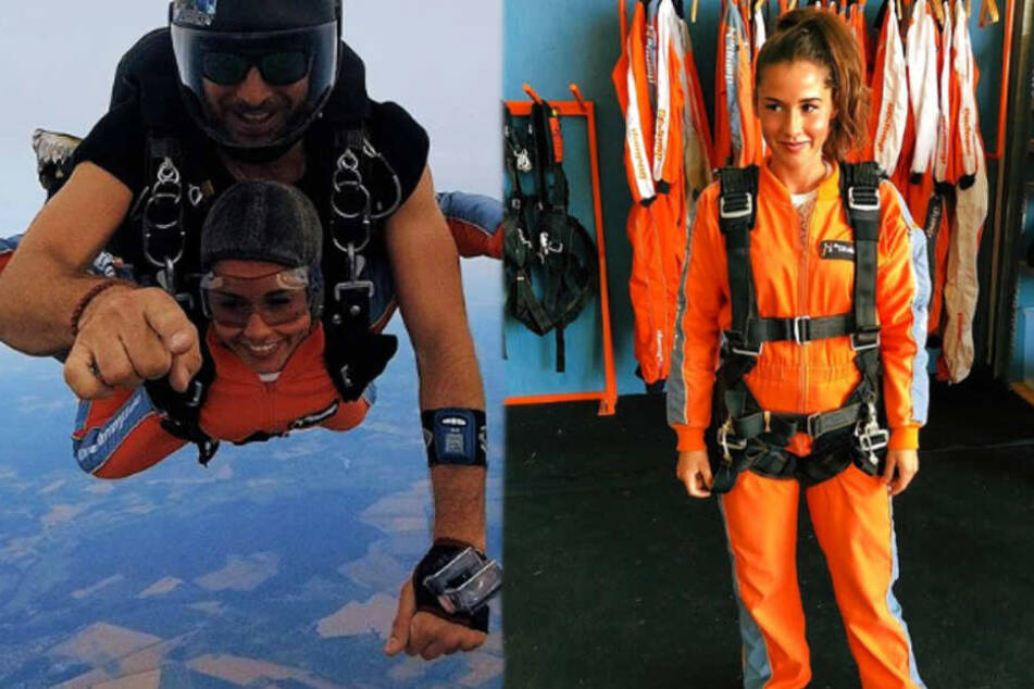 Augen zu und durch! Hier springen Sarah Lombardi und Roberto aus einem Flugzeug
