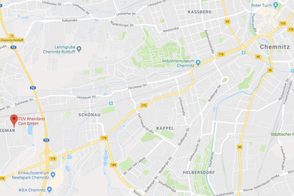 Der Standort der TÜV Rheinland Akademie Chemnitz (links markiert).