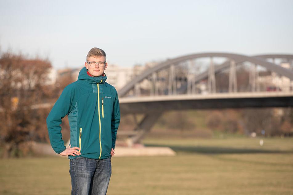 Die Waldschlösschenbrücke biete sich einfach als Schwibbogen an, findet Initiator Georg Böhme (22).