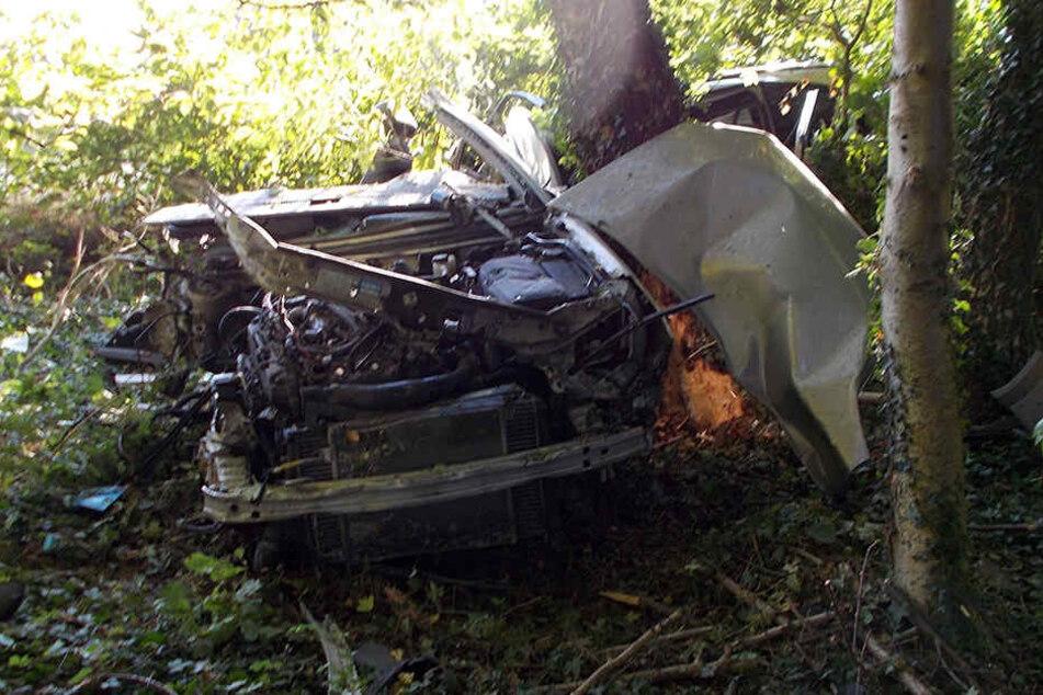 Ein Teil des Autos wickelte sich um einen Baum.