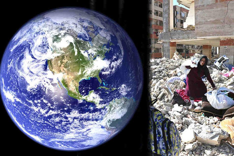 Weil sich die Erde immer langsamer dreht, drohen immer mehr Erdbeben (Bildmontage)