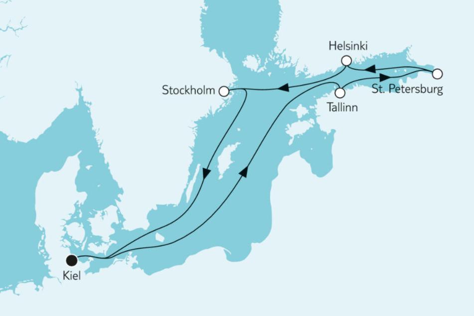 Mit der Mein Schiff 1 geht es im Mai 2020 von Kiel bis nach Stockholm.