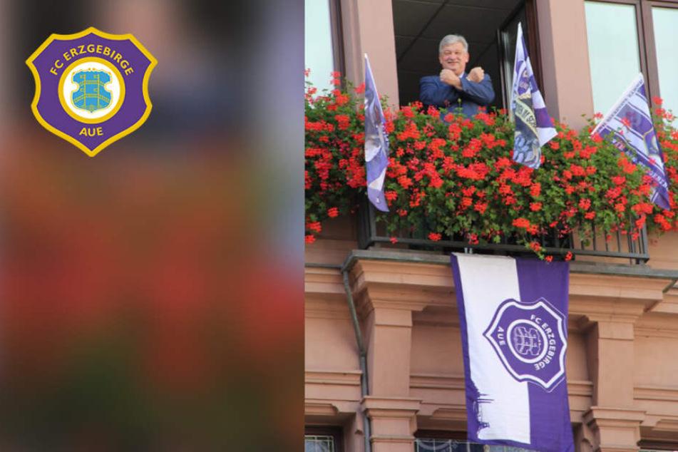 Vor dem Derby gegen Dynamo: Aue und Region schmücken sich lila-weiß