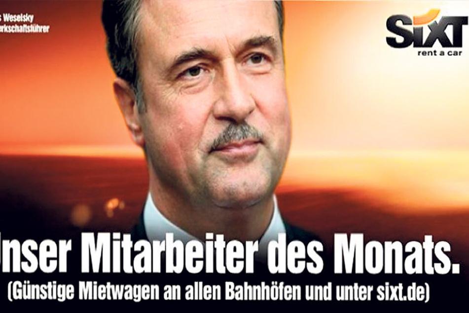 "Werbe-Coup: So nahm Autovermieter ""Sixt"" 2014 Claus Weselsky aufs Korn."
