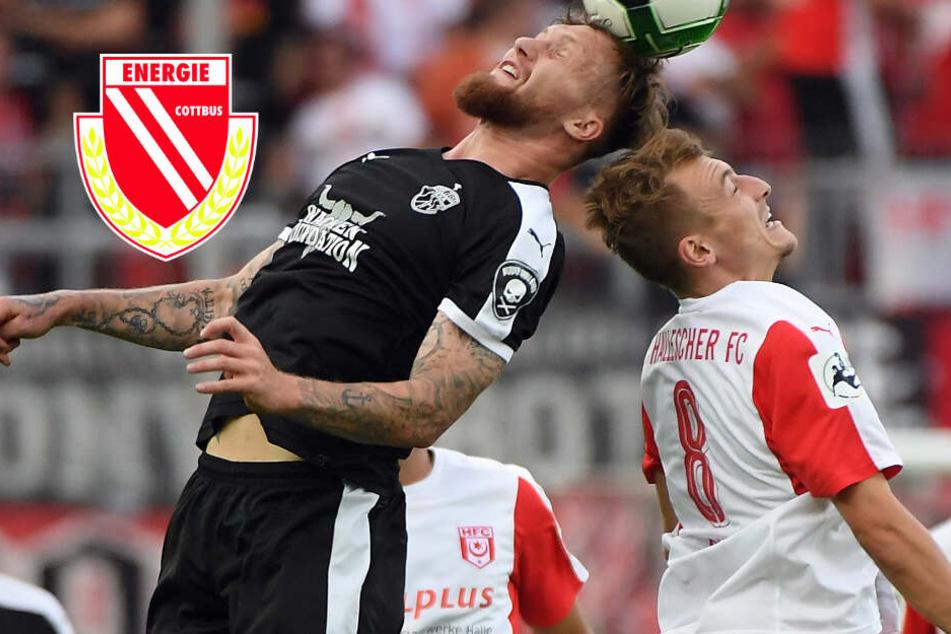 Energie Neuzugang Daniel Bohl (r.) im Zweikampf mit Jan Löhmansröben (l.), der inzwischen beim 1. FC Kaiserslautern spielt.
