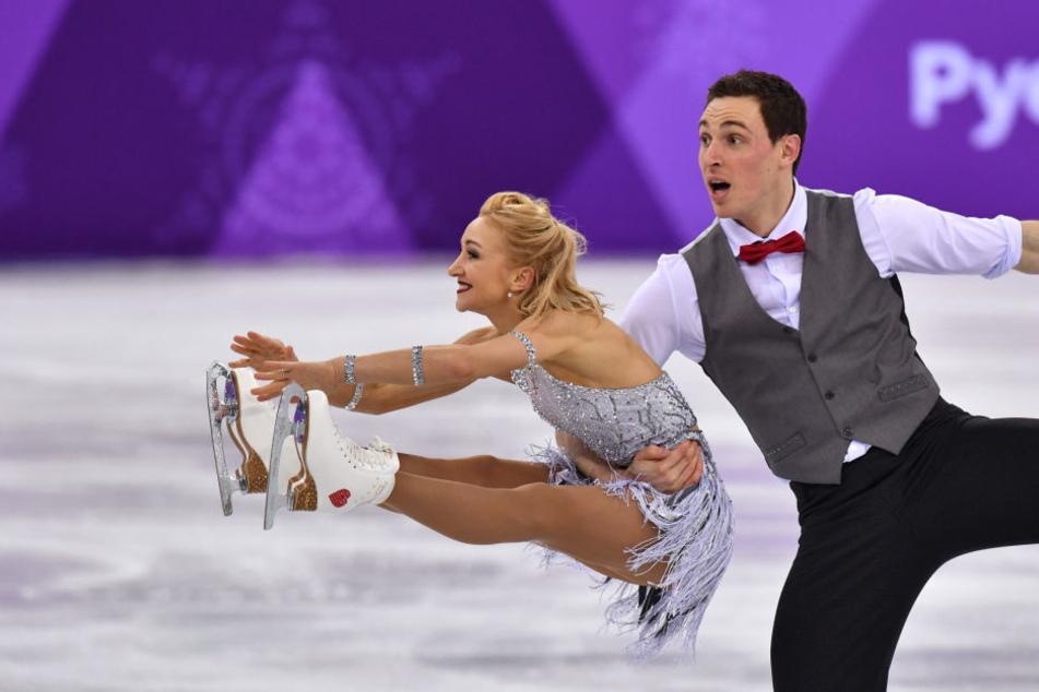 Bruno Massot und Aljona Savchenko bei ihrer Gold-Kür bei den Olympischen Spielen in Südkorea.