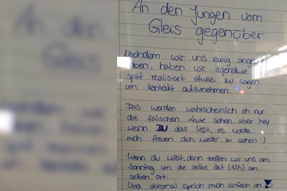 Mit diesem Brief sucht ein Mädchen nach dem Jungen.