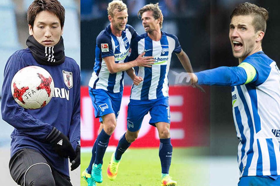 Die Hertha-Profis Genki Haraguchi (l), Fabian Lustenberger, Valentin Stocker und Peter Pekarik (r).