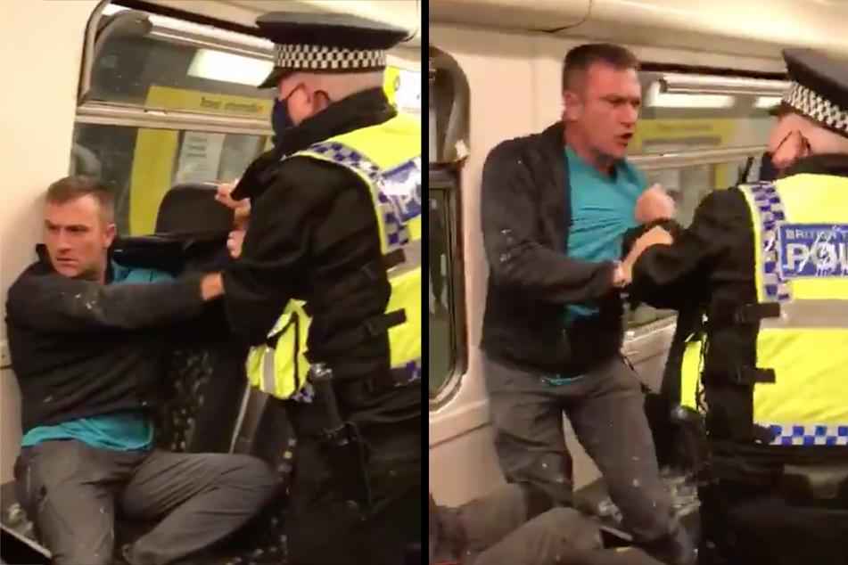 Ein 34 Jahre alter Engländer hat sich geweigert, in der Bahn eine Maske aufzusetzen- Das hatte erhebliche Folgen. (Bildmontage)