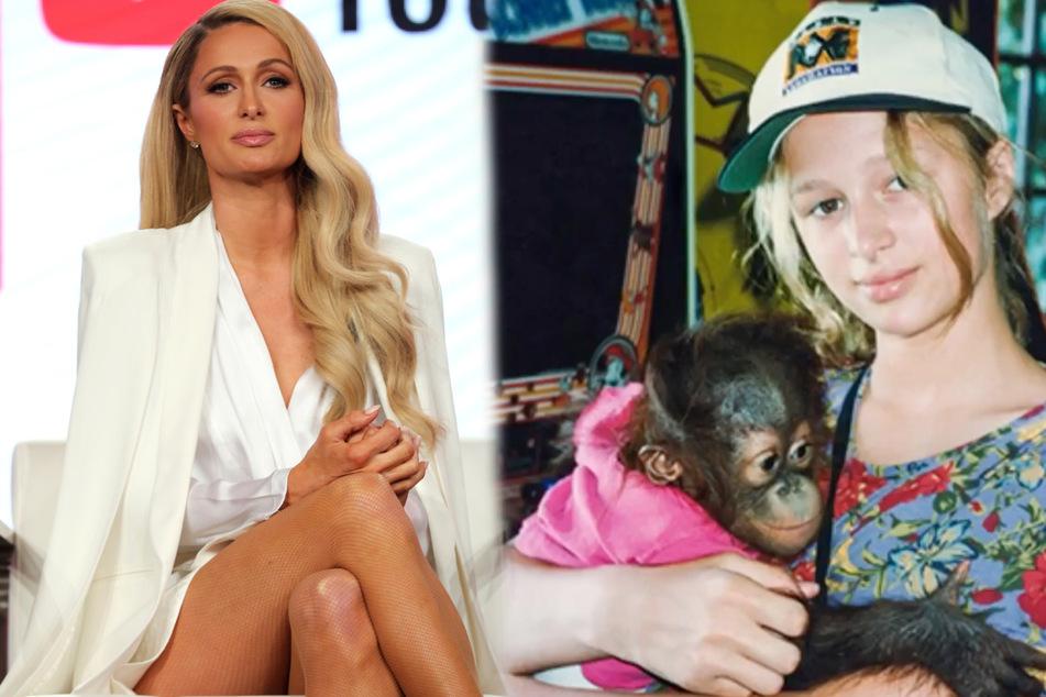 """Selbst eine Paris Hilton hat in ihrer Kindheit offenbar wie ein """"normales"""" Kind ausgesehen Heutzutage tritt die 39-Jährige nur noch top gestylt auf. (Bildmontage)"""