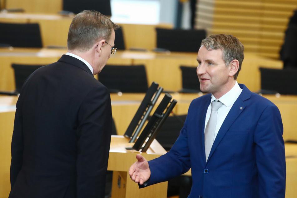 Thüringens Ministerpräsident Bodo Ramelow (64, Linke) und AfD-Frontmann Björn Höcke (48) sind keine Freunde. Eine Koalition beider Parteien ist ausgeschlossen. (Archivbild)