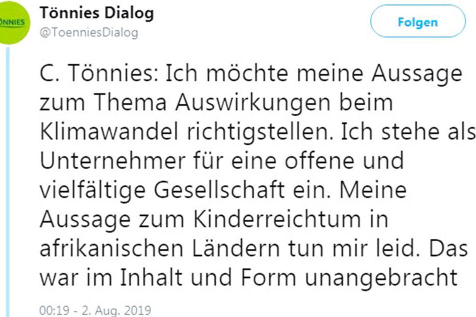 Clemens Tönnies entschuldigte sich via Twitter für seine getätigten Aussagen.