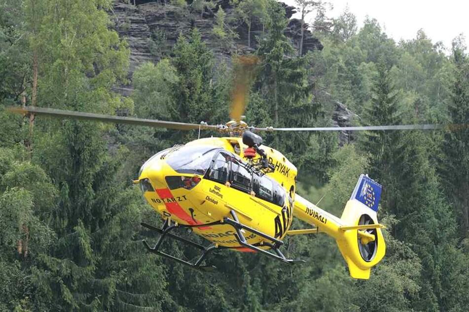 Mit dem Helikopter wurde er ins Krankenhaus Dresden Friedrichstadt geflogen.