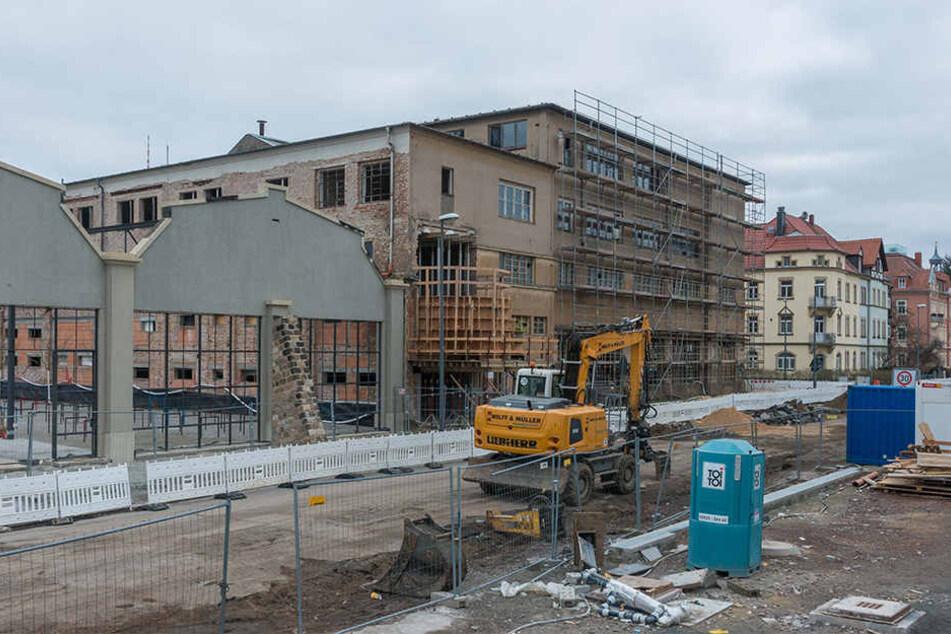 Auf dem Gelände der ehemaligen DVB-Werkstatt wird gebaut.