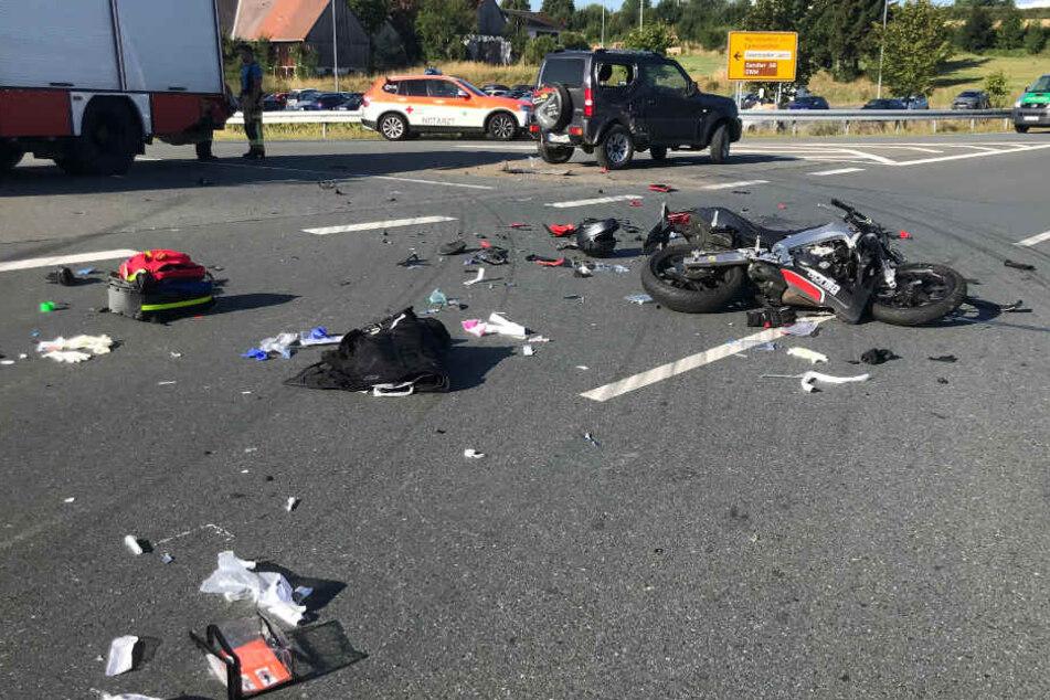 Auf der Bundesstraße 289 bei Schwarzenbach an der Saale kam es zu einem Unfall.