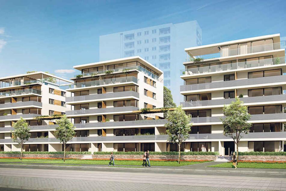 """Die """"Lenné-Terrassen"""" sollen bis 2018 entlang der Lennéstraße gegenüber der  Gläsernen Manufaktur gebaut werden."""