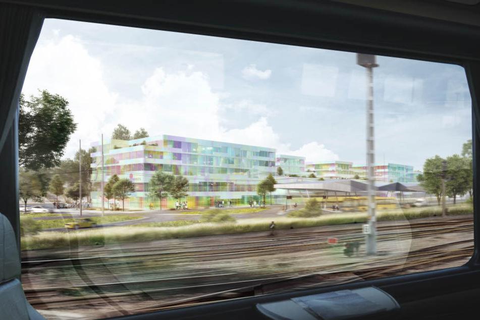 Der Blick aus dem Zug auf das künftige Simmel Center.
