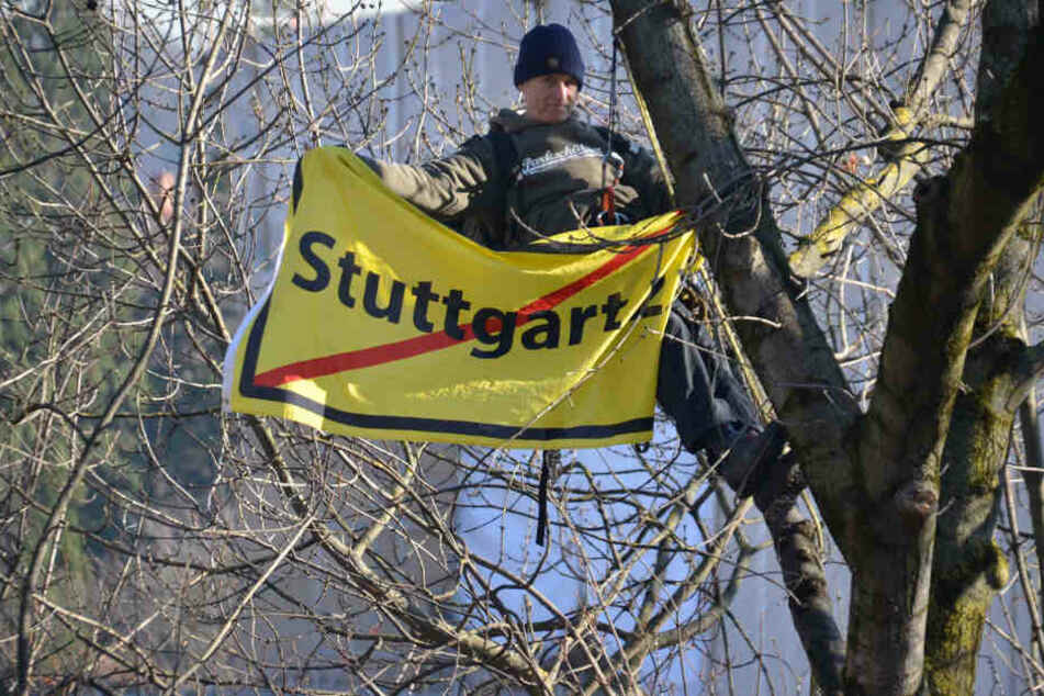 Wegen Stuttgart 21: Protest in luftiger Höhe