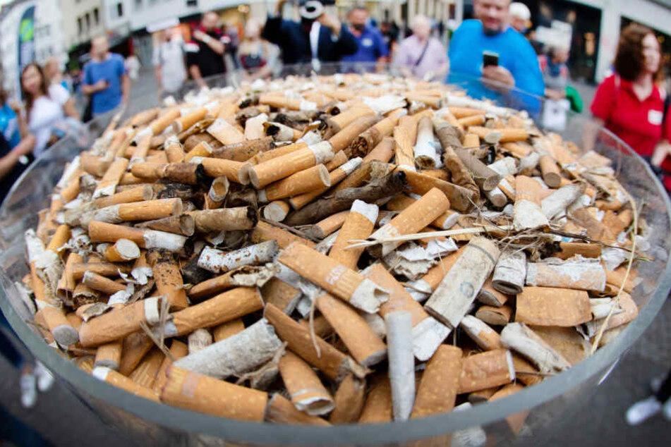 Zigarettenstummel, die in einer Aktionswoche gesammelt wurden, liegen in Düsseldorf in einer durchsichtigen Säule.