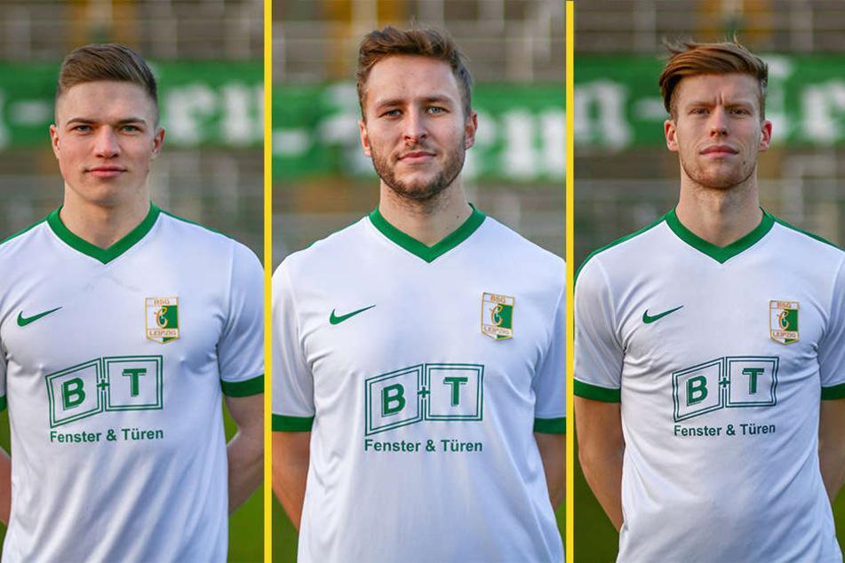 """Lars Schmidt (21), sein Namensvetter Benjamin Schmidt (27) und """"Spieler des Jahres"""" Alexander Bury (25) werden auch in der kommenden Saison für die BSG kicken."""