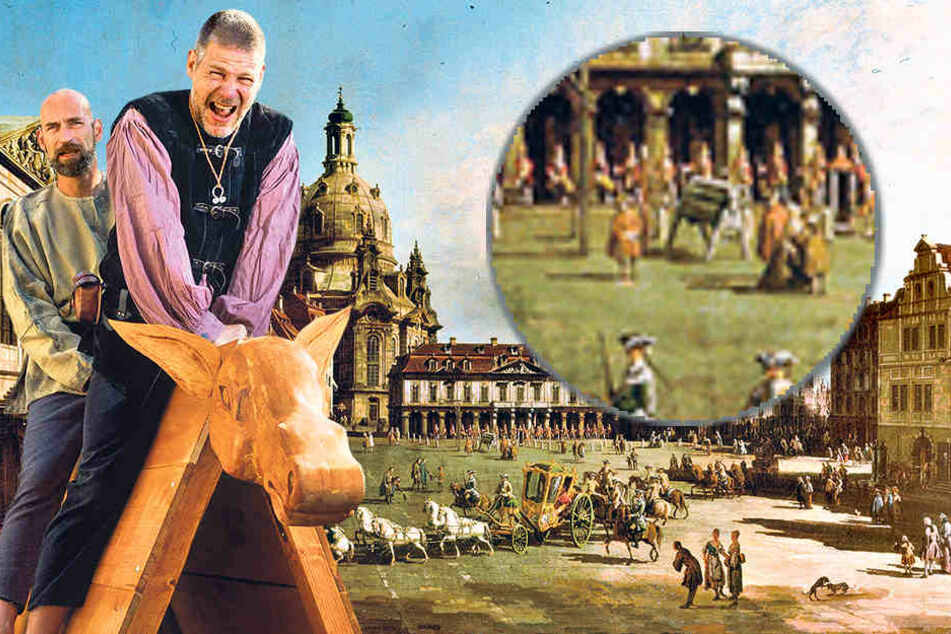 """Unter Schmerzen setzten sich Mario Sempf (48, vorn) und Thomas Zahn (49) auf den selbst gezimmerten Schandesel. Auf dem Canaletto-Gemälde """"Der Neumarkt zu Dresden vom Jüdenhof aus"""" ist der Schandesel vor der Hauptwache zu sehen."""