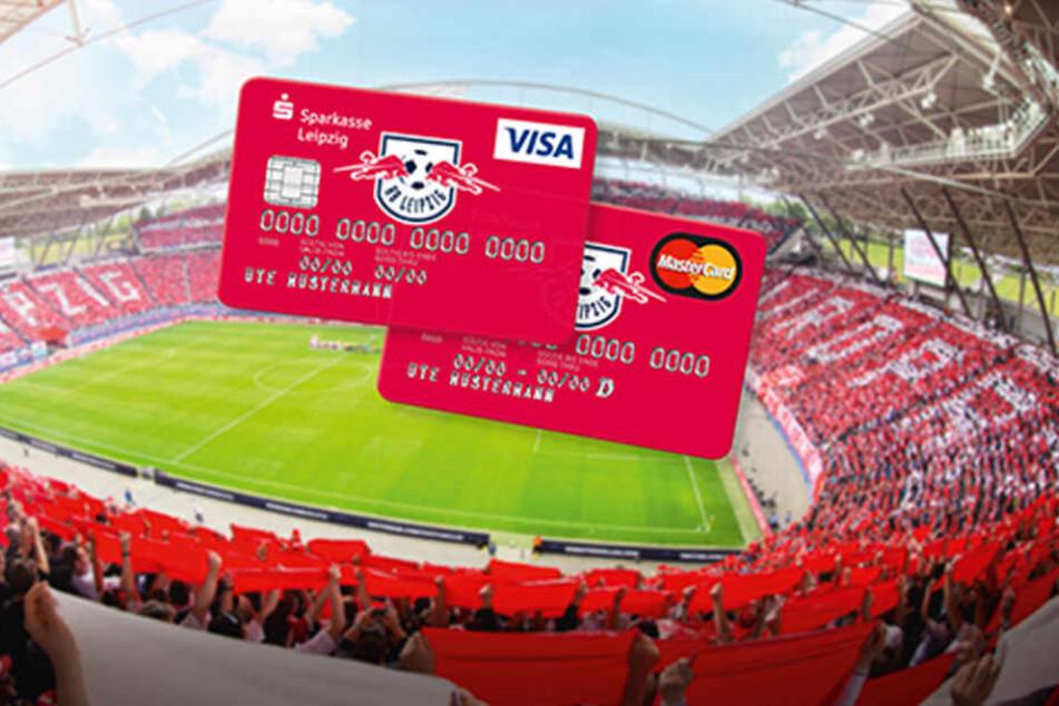 Extra für Fans: Kreditkarten im RB-Design von der Sparkasse Leipzig.
