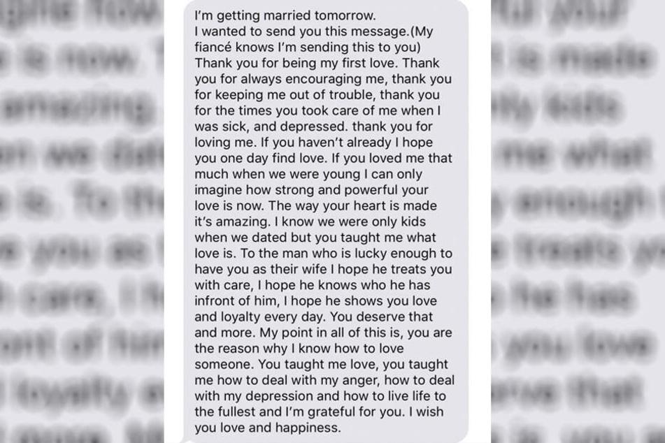 Dieses iMessage erhielt Alexsa von ihrem Ex-Freund.