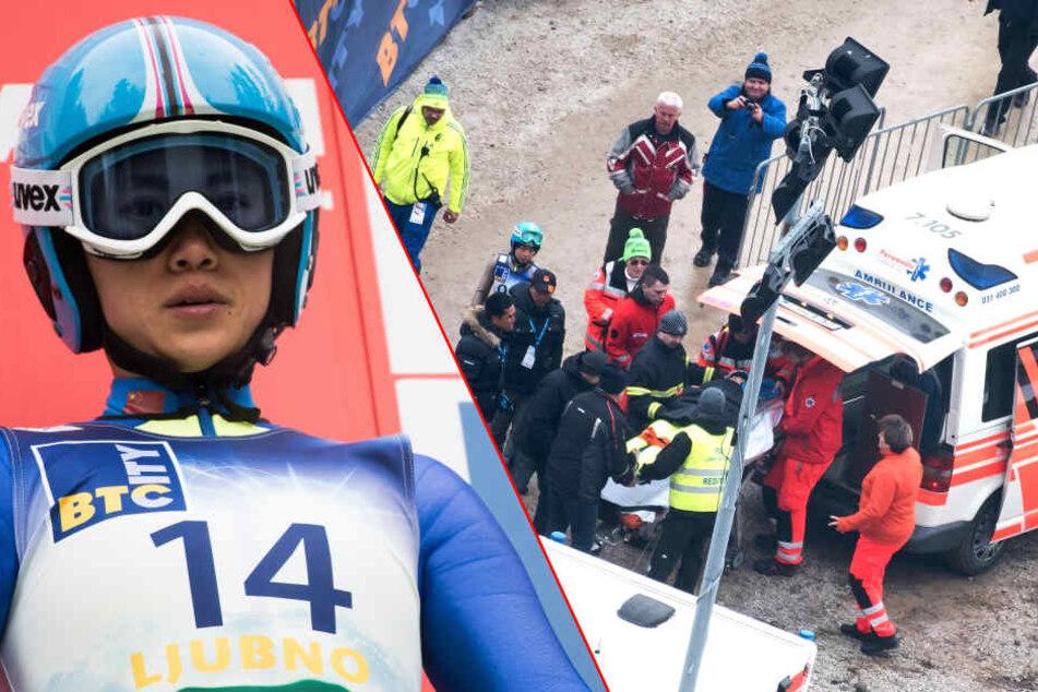 Bei einem Trainingssprung im slowenischen Ljubno stürzte die Chinesische Skispringerin Xinyue Chang (23) schwer.