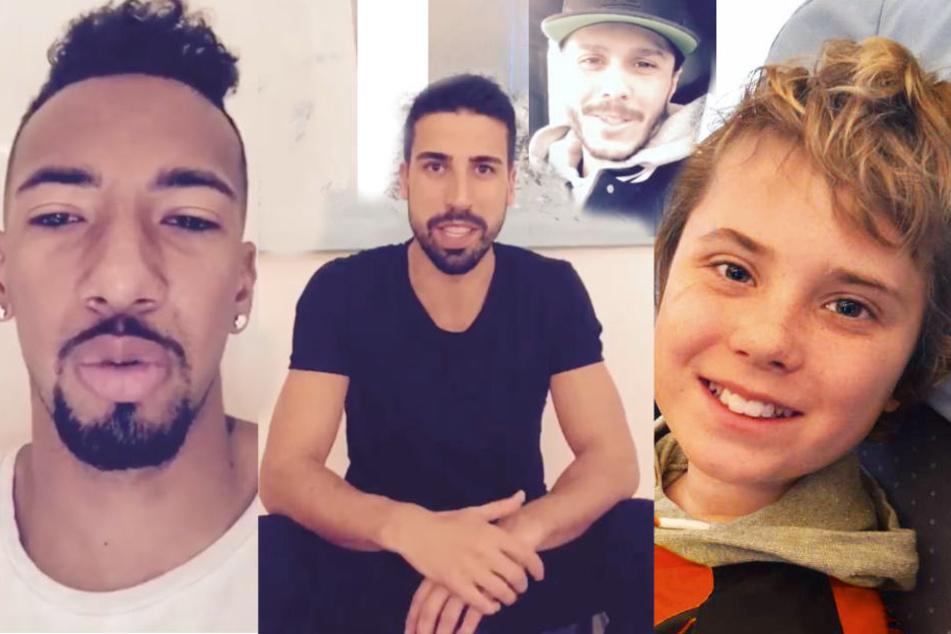 David Alaba, Sami Khedira und Leonardo Bittencourt wollen Severin (12) helfen.
