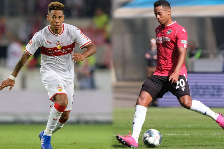 Dennis Aogo (32) spielte bis vor der vergangenen Saison für den VfB Stuttgart (links im Bild), aktuell läuft er für Hannover 96 auf. (Fotomontage)