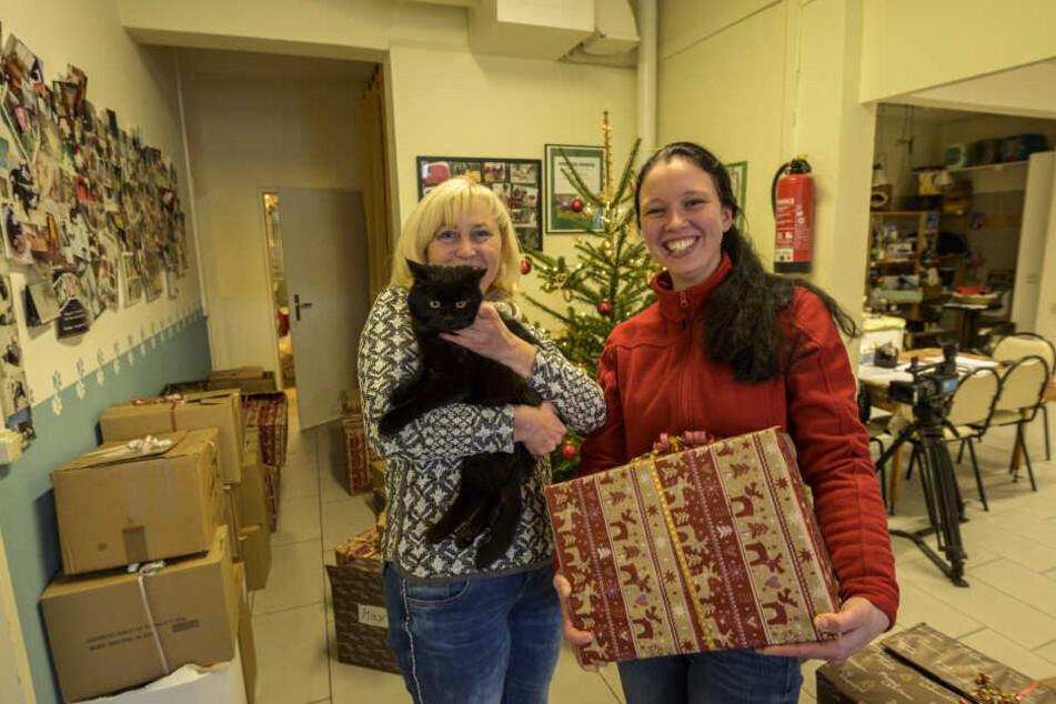 llka Grundmann (52) und Kater Boomer vom Tierasyl freuen sich gemeinsam mit Sandra Koch (30) vom Gartenfachmarkt Richter über die vielen Spenden.