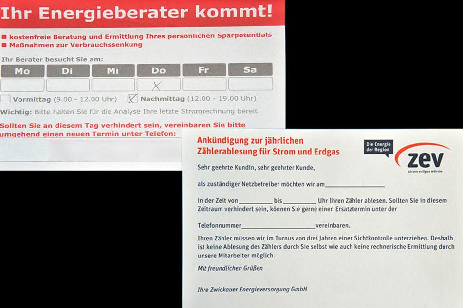 Rechts das Original, links der Zettel des selbstständigen  Energieberaters.