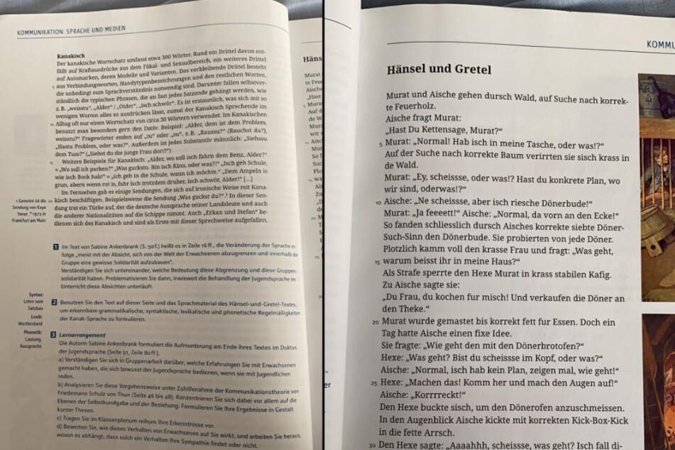 """Fotos aus dem Schulbuch, in dem ein Kapitel über """"Kanakisch"""" neben dem umgeschriebenen Märchen steht."""