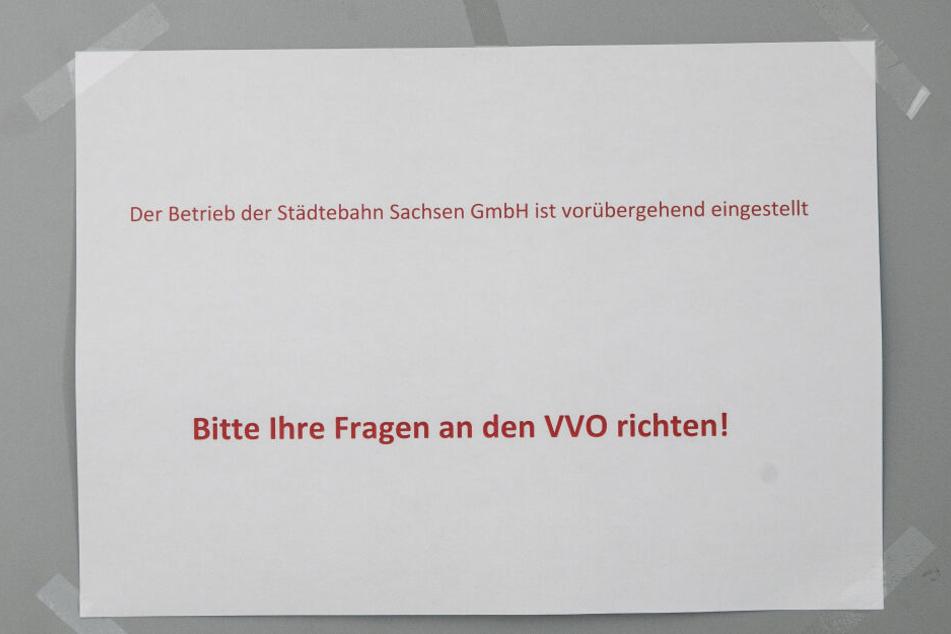 Am Büro der Städtebahn Sachsen im Dresdner World Trade Center fand sich nur dieser Zettel.