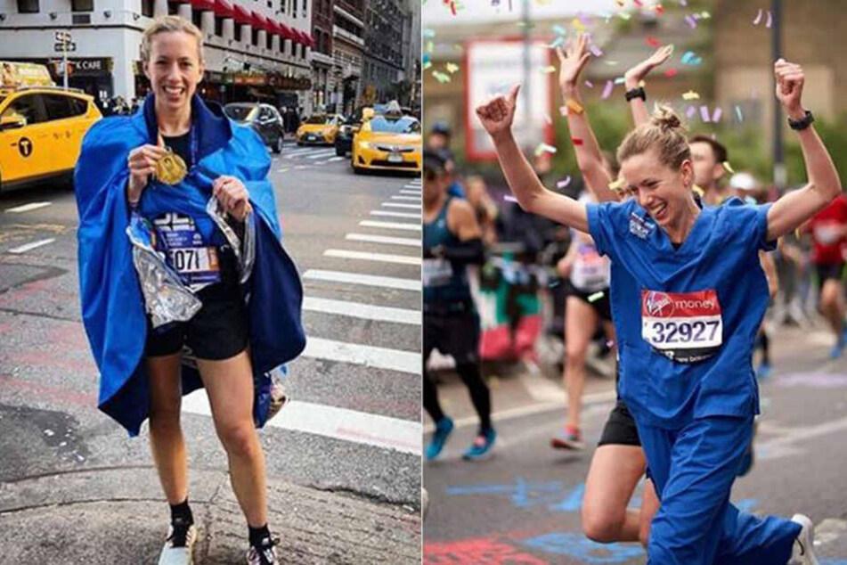 Jessica läuft gerne mit. Links in New York und rechts beim Londoner Marathon.