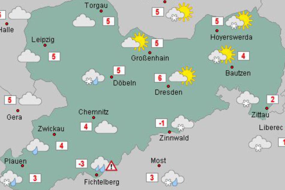 Der Osten Sachsens ist am Donnerstag deutlich freundlicher. Im trüben Erzgebirge und Vogtland hingegen ist vereinzelt mit Schnee und Schneeregen zu rechnen.