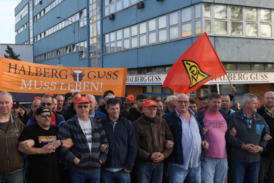 Gestern gingen die Beschäftigten der Leipziger Halberg-Gießerei erneut auf die Straße. Der Streik dauerte 24 Stunden.