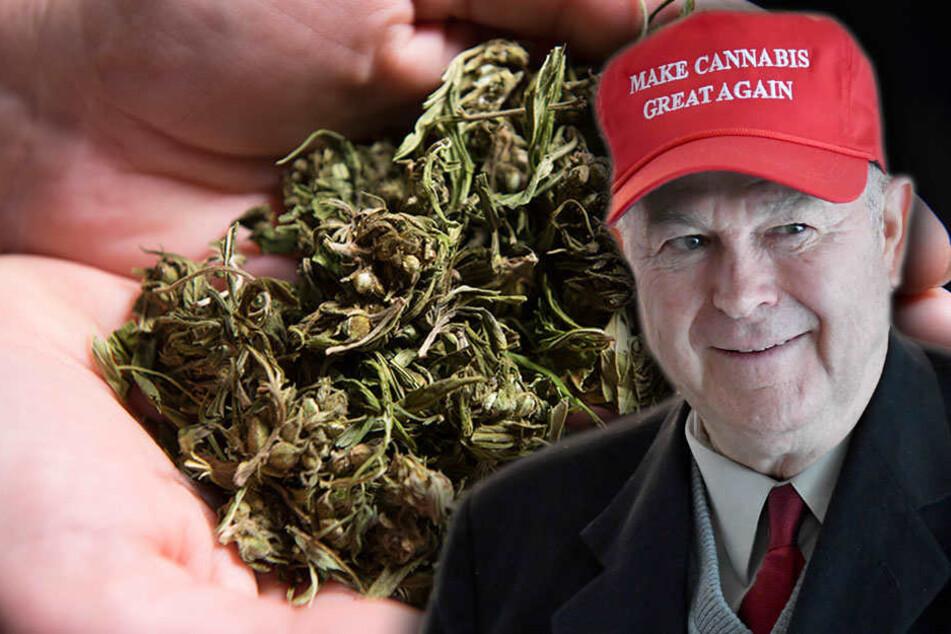 """""""Make Cannabis great again"""" steht auf der Mütze des republikanischen US-Kongressabgeordneten und Gründers des Cannabis-Caucus, Dana Rohrabacher, der die """"Cannabis-Konferenz"""" in Berlin besuchte."""