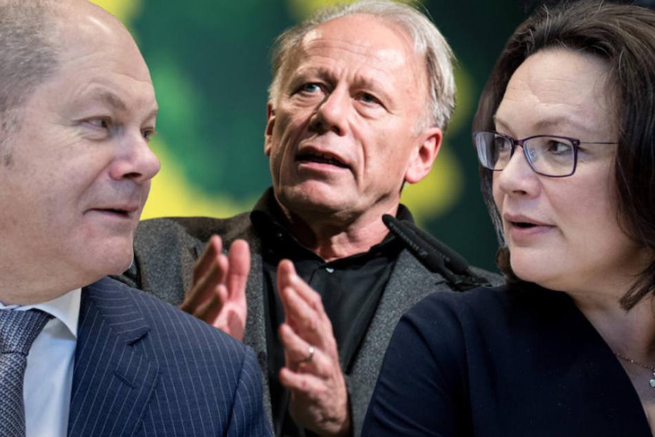 Grünen-Politiker Jürgen Trittin (64) poltert gegen die SPD-Spitze um Andrea Nahles (48) und Olaf Scholz (60, li.). (Bildmontage)