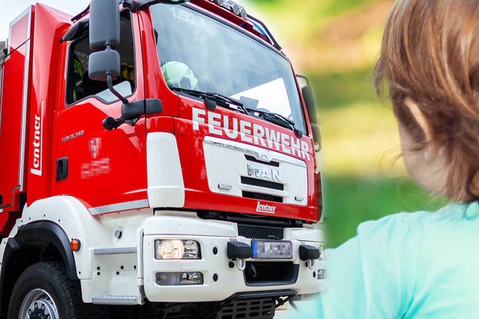 Kind (2) bleibt in Schirmständer stecken, Feuerwehr muss in Dresden anrücken
