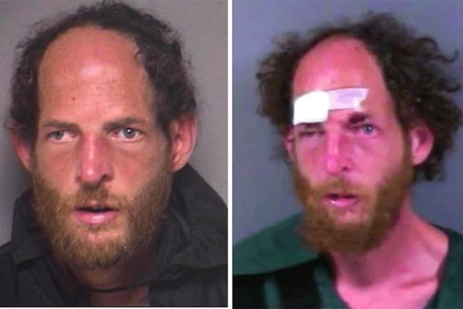 Der Täter, wie er auf den Warn-Bildern der US-Polizei zu sehen ist (li.) und nach seiner Festnahme nach dem Kampf mit der Joggerin.