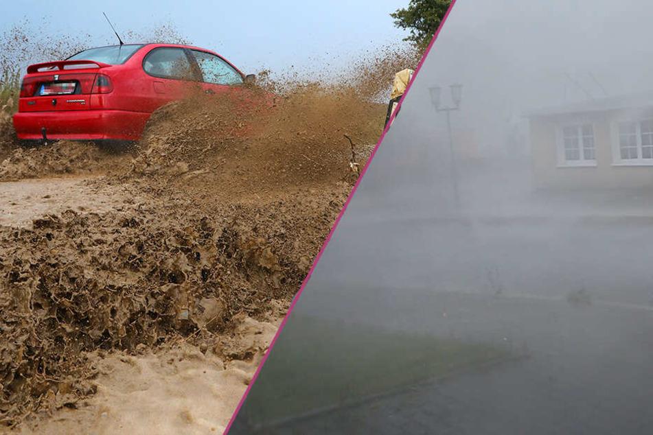 Heftige Gewitter toben über Sachsen: Straßen mit Schlamm überspült