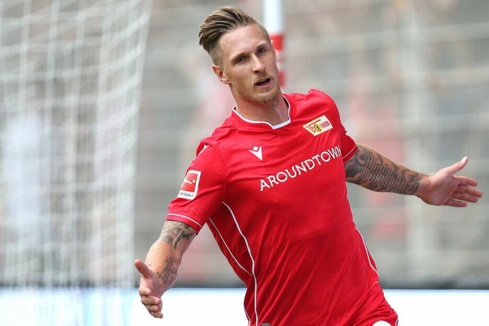 Sebastian Polter jubelt nach seinem Treffer zum 1:0 gegen Bröndby.