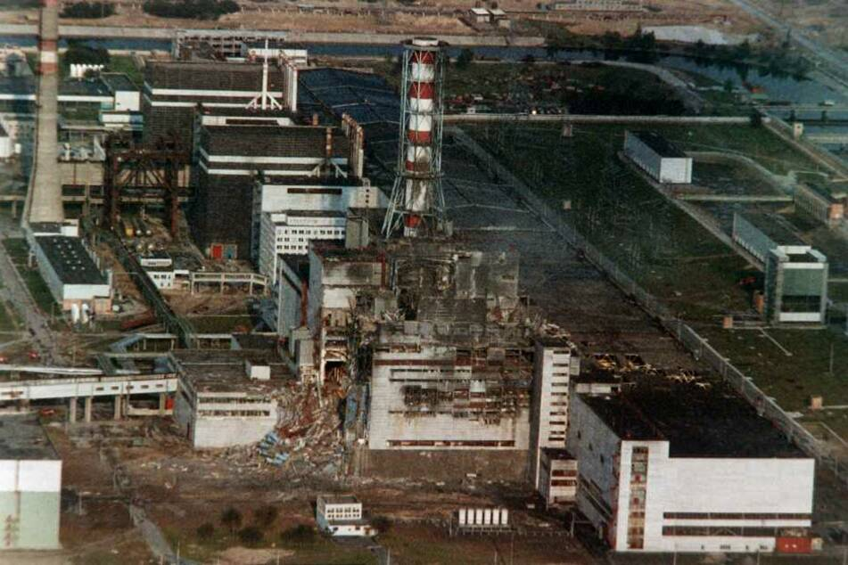 Der Blick auf den zerstörten Reaktor in Tschernobyl 1986.