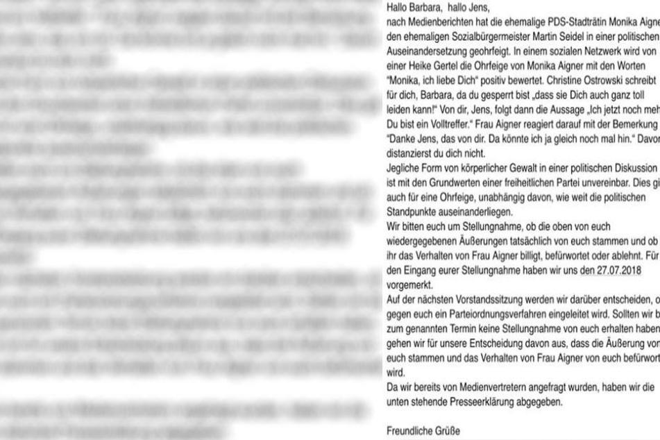 Mit diesem Brief fordert die FDP eine Stellungnahme von Genschmar und Lässig.