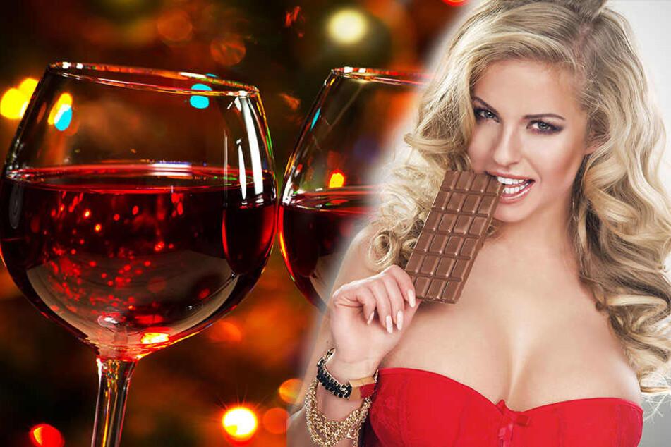 Ein Gläschen Wein und ein paar Stückchen Schokolade und ihr sehr aus wie frisch gebügelt.